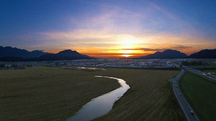 Aerial sunset picture of Chilliwack from Luckakuck